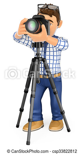 Clipart of 3D Photographer with camera and tripod taking a ...  Clipart of 3D P...
