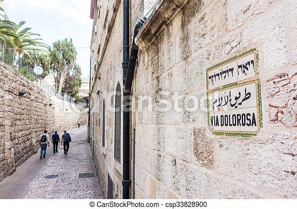Via Dolorosa, Jerusalem, Israel, Middle East - csp33828900