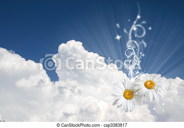 Floral sky background - csp3383817
