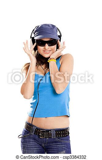 Young girl listen music - csp3384332