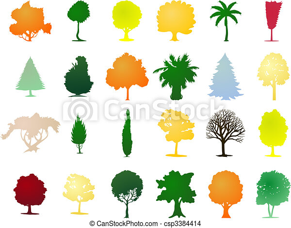 One-ton trees of Different colour. A vector illustration - csp3384414