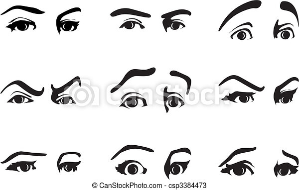 Different expression of an eye expressing emotions. A vector illustration - csp3384473