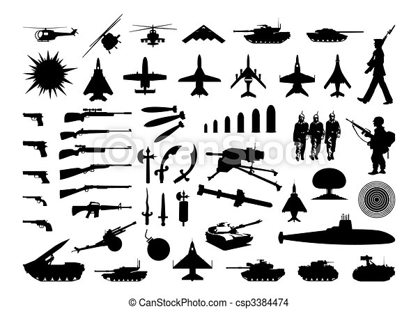 Silhouettes of the various weapon and engineering. A vector illustration - csp3384474