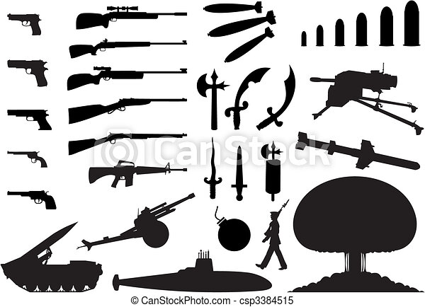 Silhouettes of the various weapon and engineering. A vector illustration - csp3384515