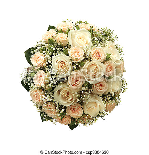 Wedding bouquet isolated on white - csp3384630