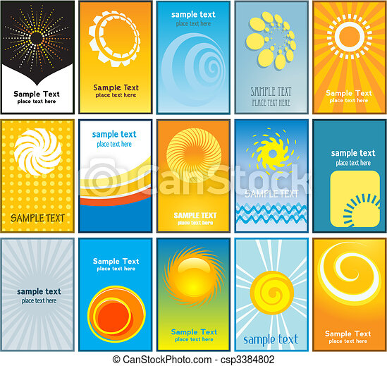 Summer themed business cards - csp3384802