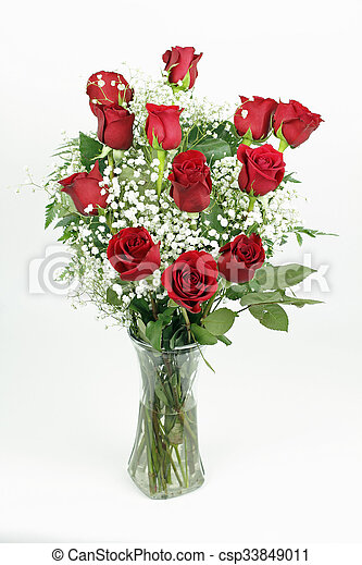 Beautiful Bouquet of Red Roses - csp33849011