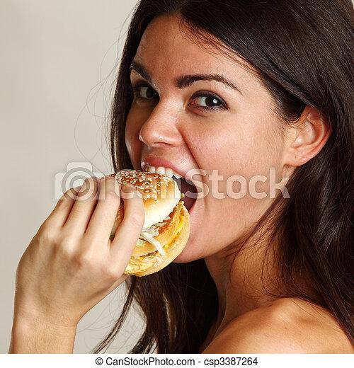 woman eat burger