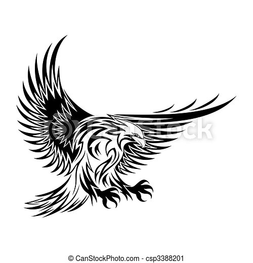 An eagle with wings open - csp3388201