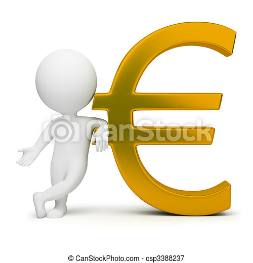 3d small people - euro sign - csp3388237