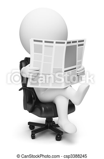 3d small people - newspaper - csp3388245