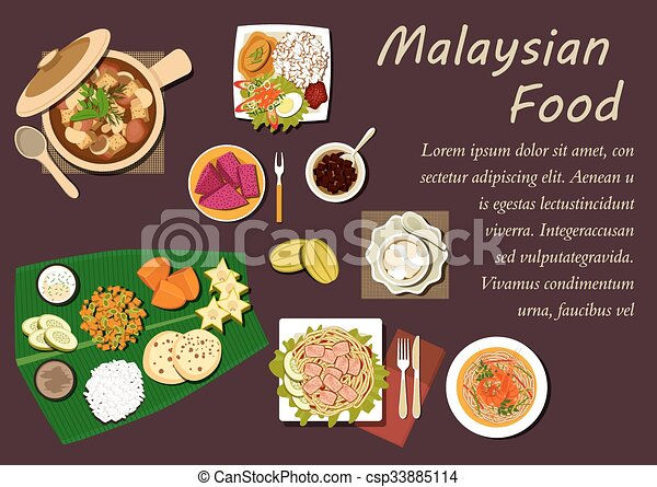 vector clip art of malaysian cuisine dishes and desserts