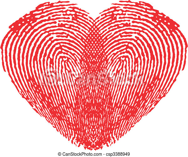 Romantic heart made of fingerprints - csp3388949