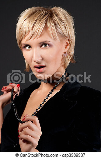 sexual blond woman in short skirt . - csp3389337