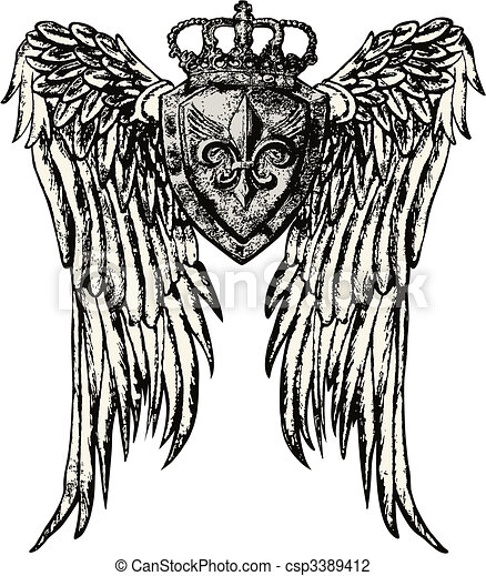 royal emblem with wing tattoo - csp3389412