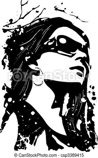 fashion lady illustration - csp3389415