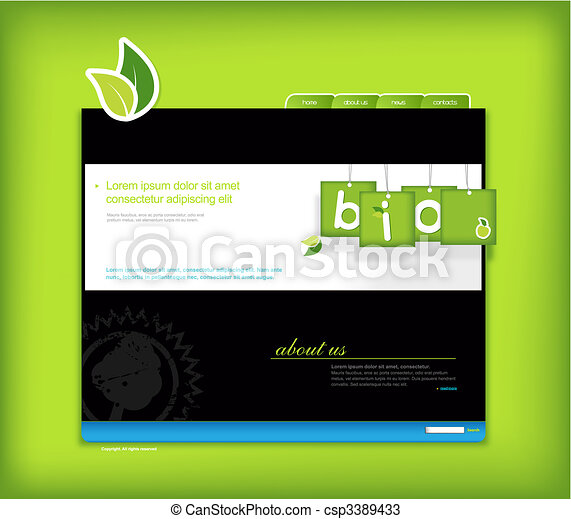 Website template with green background. - csp3389433