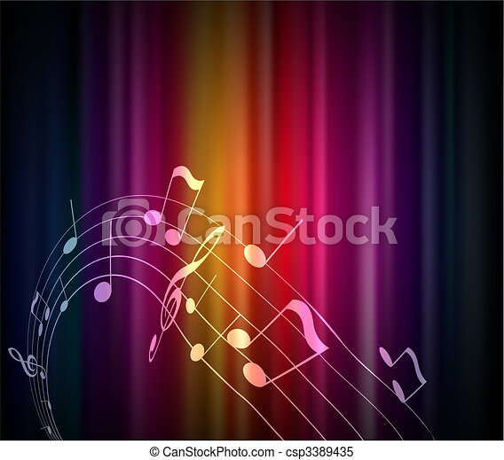 Colored musical notes background. - csp3389435