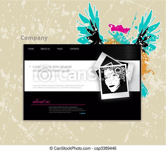 Website template with photo. Vector art - csp3389446