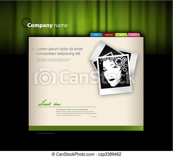 Website template with photo. Vector art - csp3389462