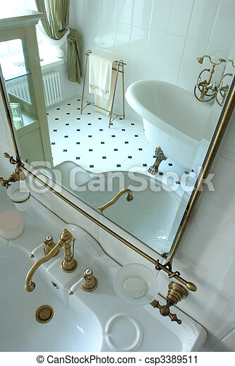 interior of a bathroom in reflection of a mirror                         - csp3389511