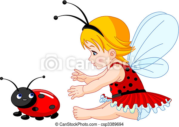EPS Vector Of Cute Baby Fairy And Ladybug
