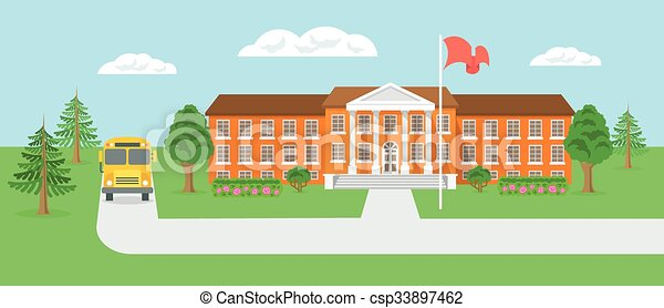 Clip Art Vector of School building and yard flat landscape vector ...