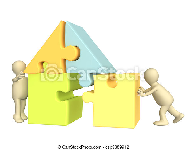 3d puppets building the house  - csp3389912