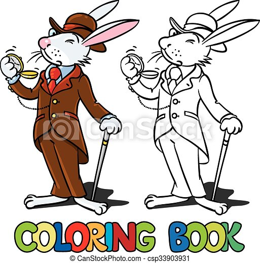 Rabbit in the costume of a gentleman Coloring book - csp33903931