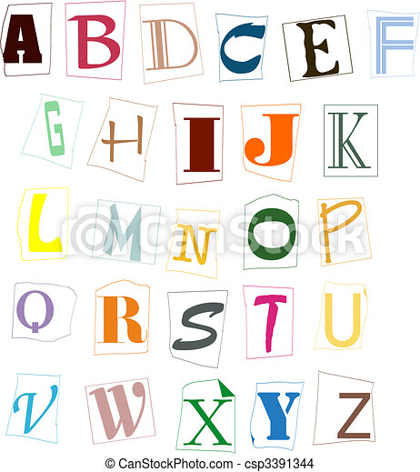 The letters of the English alphabet of different colour - csp3391344