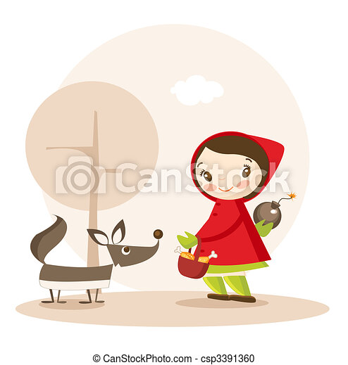 Little Red Riding Hood funny cartoon  - csp3391360