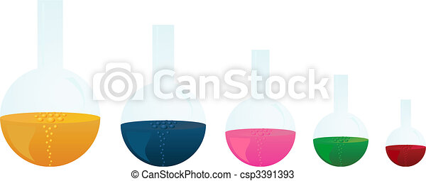 Chemical vessels with a boiling liquid of different colour - csp3391393