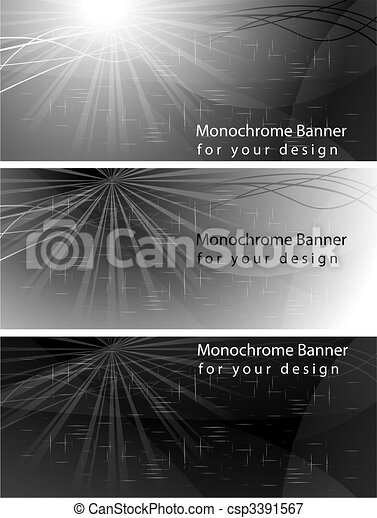 Monochrome banners - eps 10 - csp3391567