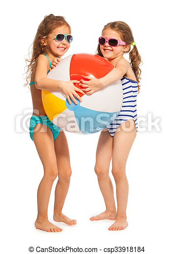 Two little swimmers catching big wind-ball - csp33918184