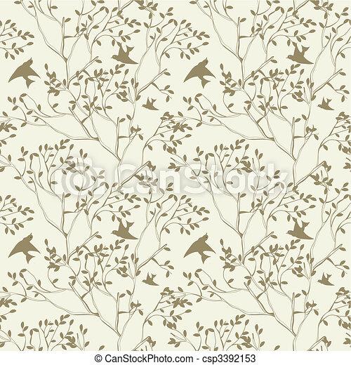 Vector seamless papel pintado rbol ramas p jaro - Papel pintado ramas arbol ...