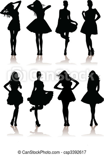vector illustration set of various beautiful model girls in dress.Lady girls - csp3392617