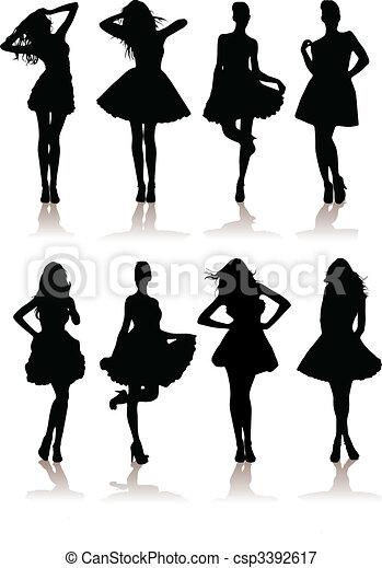 vector illustration set of various beautiful model girls in dress.Lady girls - csp3392617