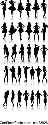 New set of model Girls fashion silhouette. Lady girls.Collection of people - csp3392624
