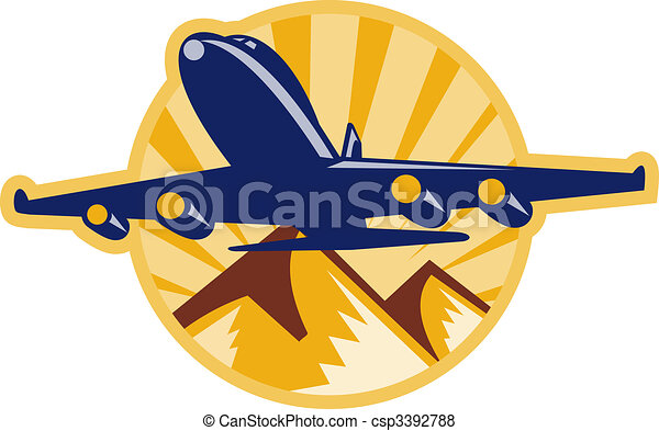 jumbo jet airplane flying with mountains - csp3392788