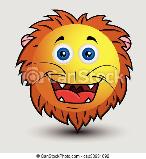 EPS Vectors of Cute Happy Lion Smiley Character Face ...