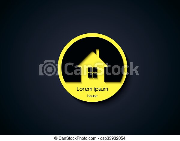 Vector House Icon on round button - csp33932054