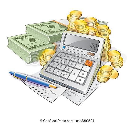 Dessin de billets banque, calculatrice, pièces, stylo ...