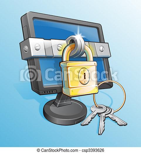 Locked Monitor Abstract - csp3393626