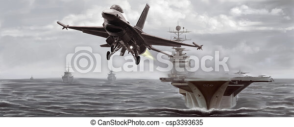 Jet Fighter and Naval Ship - csp3393635