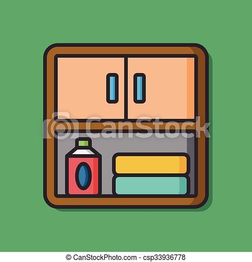 vectors illustration of bathroom mirror closet icon csp33936778