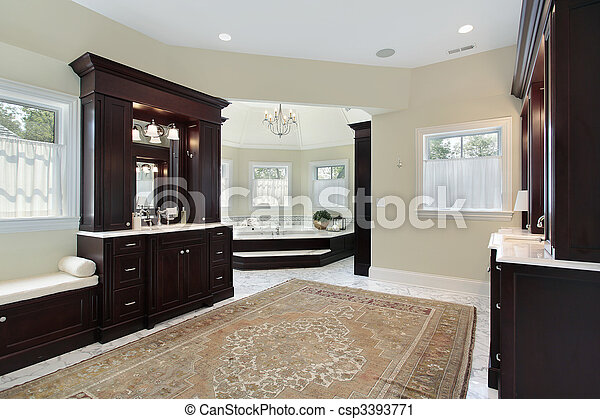 Master bath with separate tub room - csp3393771