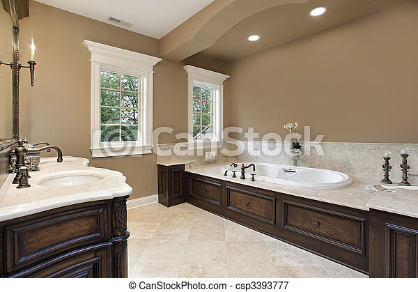 Master bath with dark wood trim - csp3393777