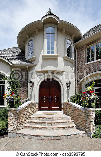Entry way with stone steps - csp3393795
