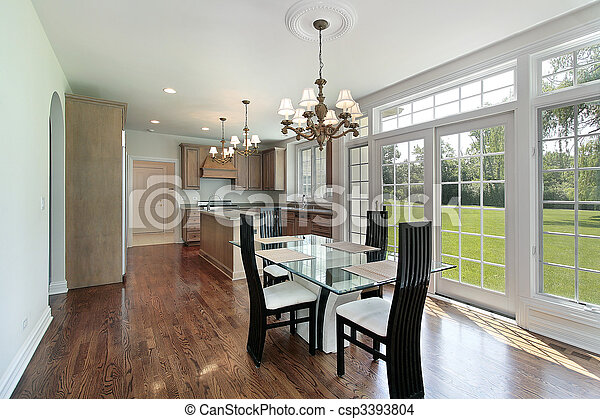 Kitchen with glass sliding doors - csp3393804