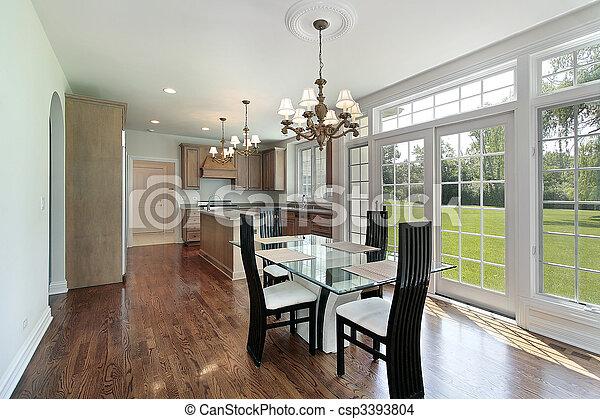 Kitchen with glass sliding doors - csp3393804